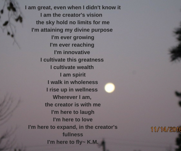 I am great, even when I didn't know itI am the creator's vision the sky hold no limits for meI'm attaining my divine purpose I'm ever growingI'm ever reaching I'm innovative I cultivate