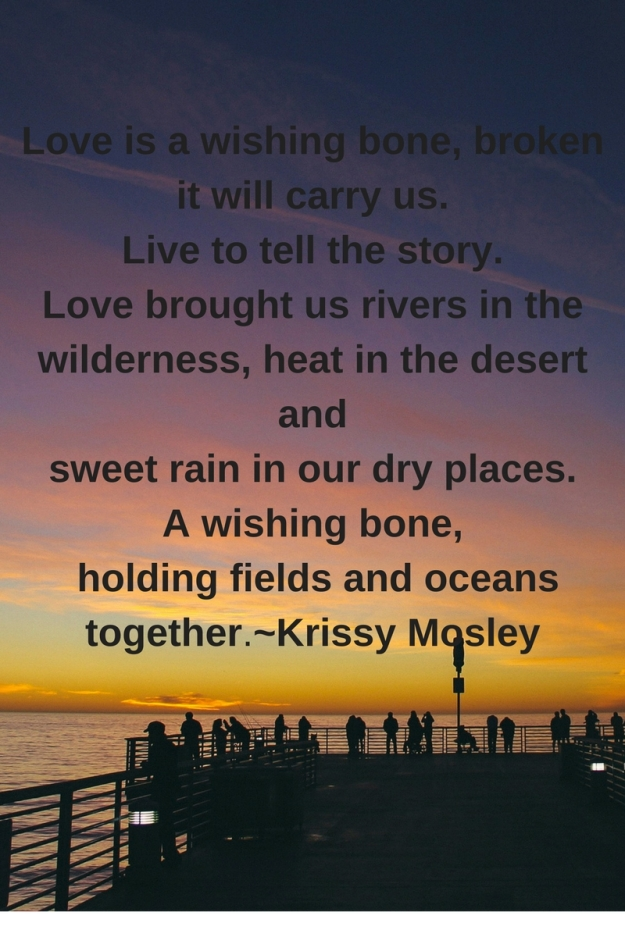 Love is a wishing bone, brokenit will carry us. Live to tell the story. Love brought us rivers in the wilderness, heat in the desert and sweet rain in our dry places. A wishing bone, holding fields and oceans .jpg